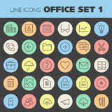 Inline Office Icons Collection Royalty Free Stock Images