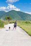 Inline patinando com cão Imagens de Stock Royalty Free
