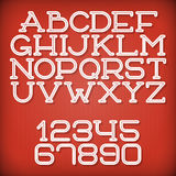 Inline Retro Font. Inline Retro Vector Font with Transparent Shadow Stock Image
