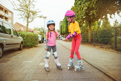 Inline roller skating Stock Photos