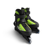 Inline rollers skates 3d render isolated on white. Inline rollers skates 3d render on white Stock Photography