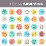 Inline Shopping Icons Collection Royalty Free Stock Photos