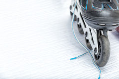 Inline Skate Rollerblade. Close up view, on white, of inline skate or rollerblade stock images