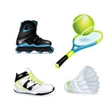 Inline skate, sport shoe and tennis racket. With ball and shuttle Royalty Free Stock Image