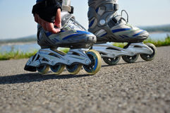 Inline Skates. Photo of inline skates made outside during ride stock image