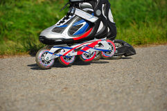 Inline Skates. Photo of inline skates made outside during ride royalty free stock photos