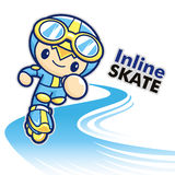 Inline skating boy Mascot. Sports Character Design Series. Royalty Free Stock Photos