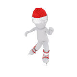 Inline skating 3d model christmas. Time and wear christmas cap Royalty Free Stock Photo