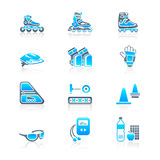 Inline skating icons | MARINE series. Inline skating boots, protection, accessories and related objects icon-set Stock Photo