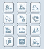 Inline skating icons | TECH series. Inline skating boots, protection, accessories icon-set Royalty Free Stock Photos