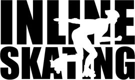 Inline Skating word with silhouette cutout. Vector vector Royalty Free Stock Photography