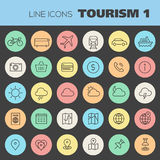 Inline Tourism Icons Collection Stock Photography