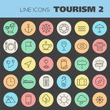 Inline Tourism Icons Collection Stock Photos