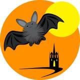 Inllustration di Halloween con la luna ed il castello del pipistrello Fotografie Stock