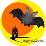 Inllustration di Halloween con la luna ed il castello del pipistrello Immagini Stock