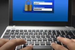 Inloggnings- och lösenordskärm Royaltyfria Foton