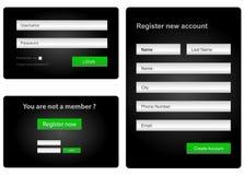 Inloggnings- och registerrengöringsdukform Arkivbild