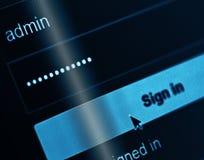 Inloggningsask - användarnamn Admin och lösenord Arkivbilder