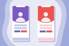 Inloggningssida på den mobila den skärmappen eller websiten royaltyfri illustrationer