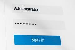 Inloggningsskärm - användarnamn & lösenord Användarnamn och lösenord på datorskärmen Arkivbilder
