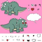 Inlove baby triceratops cartoon expressions set Royalty Free Stock Photo