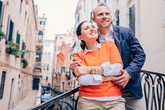 Inlove couple on old Venice street Royalty Free Stock Photos