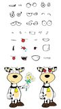 Inlove Cow cartoon expressions set Royalty Free Stock Image