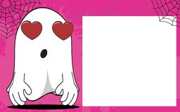 Inlove Ghost halloween cartoon expressions frame background Stock Photography