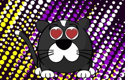 Inlove little ball cat cartoon background Royalty Free Stock Images