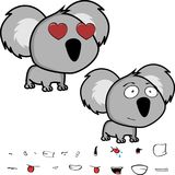 Inlove little big head baby koala expressions set Royalty Free Stock Photos