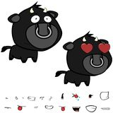 Inlove little big head black bull expressions set Stock Photos