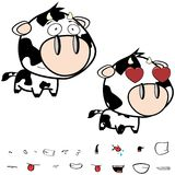 Inlove little big head cow expressions set Stock Photos