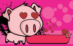 Inlove little big head pig cartoon background Royalty Free Stock Images