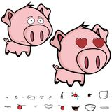 Inlove little big head pig cartoon expression set Royalty Free Stock Images