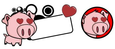 Inlove Little pig big head expression copyspace Stock Photo