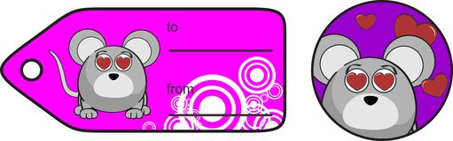 Inlove mouse ball expression cartoon giftcard Royalty Free Stock Photo