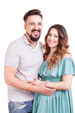 Inlove pregnant woman with her partner in studio photo Royalty Free Stock Photography