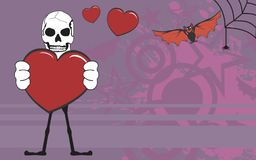 Inlove Skeleton cartoon halloween background Royalty Free Stock Photography