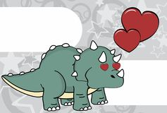 Inlove triceratops cartoon expressions background Stock Photo