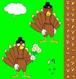Inlove Turkey cartoon thanksgiving expressions set Stock Image