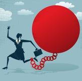 Inlåst abstrakt affärskvinna en boll och en kedja. Arkivfoton