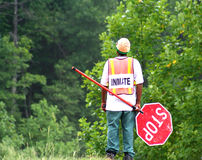 Inmate. Working on road maintenance royalty free stock images