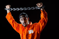 Inmate chained on black Royalty Free Stock Photos