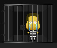 An inmate was standing and sad vector illustration