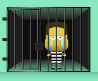 An inmate was standing sad and look out of prison. With green background Stock Images