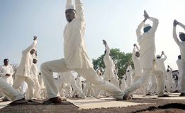 4th International Yoga Day celebrated in Bhopal Stock Images