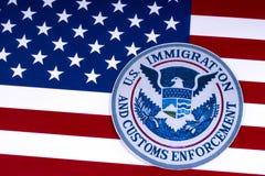 Inmigración de los E.E.U.U. y aplicación de las aduanas Foto de archivo
