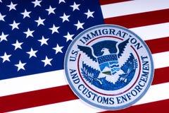 Inmigración de los E.E.U.U. y aplicación de las aduanas Fotografía de archivo