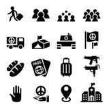 Inmigración, inmigrante, sistema del icono del refugiado stock de ilustración