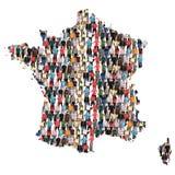 Inmigración multicultural de la integración del grupo de personas del mapa de Francia fotografía de archivo